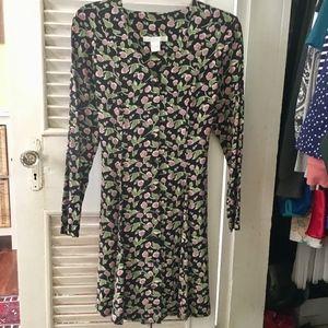 Vintage Floral Button Front Dress Tie Back Rose XS